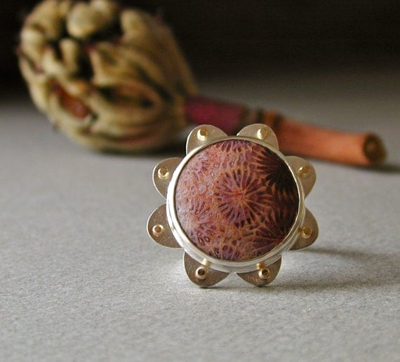 Fossil Coral Ring in Sterling Silver and 14k Gold, OOAK Flower Motif Design With Rustic Petals, Unique Statement Piece