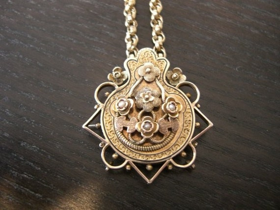 Beautiful, Romantic,Victorian 10k Gold Pendant with Pearls, Vintage Chain Necklace
