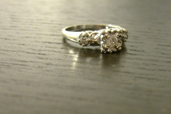 Vintage, Diamond Engagement Ring, 14k White Gold, 1940s, square top