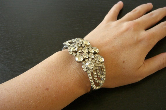 Vintage 1950s, Rhinestone Bangle Bracelet, Cuff, Sparkle, Hollywood