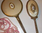 Fabulous Shabby French Ormolu Hand Mirror and brush   Dresser Set   Shabby Pink Roses