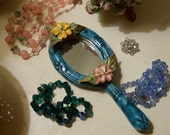 SALE vintage hand mirror for wall or dresser MAJOLICA  Venetian blue Shabby Cottage