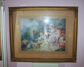 Vintage FRENCH litho Print - BARBOLA - Gesso frame with ROSES - Le Nid - Gorgeous Colors