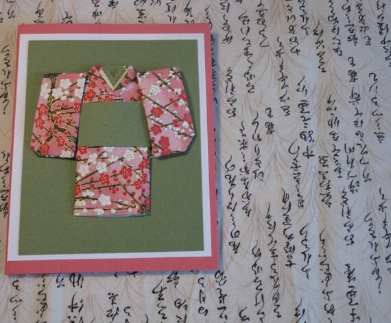 Pink-Green-and-White Kimono Card