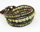 Adventure Style. Triple Leather Turquoise Wrap Bracelet. Unisex. New.