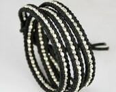 Faceted Nuggets Sterling Silver Black Leather Wrap Bracelet. Sparkle.