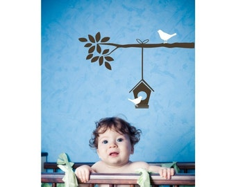 BIRD - BRANCH - BIRDHOUSE decal - Vinyl decal for baby or kid room
