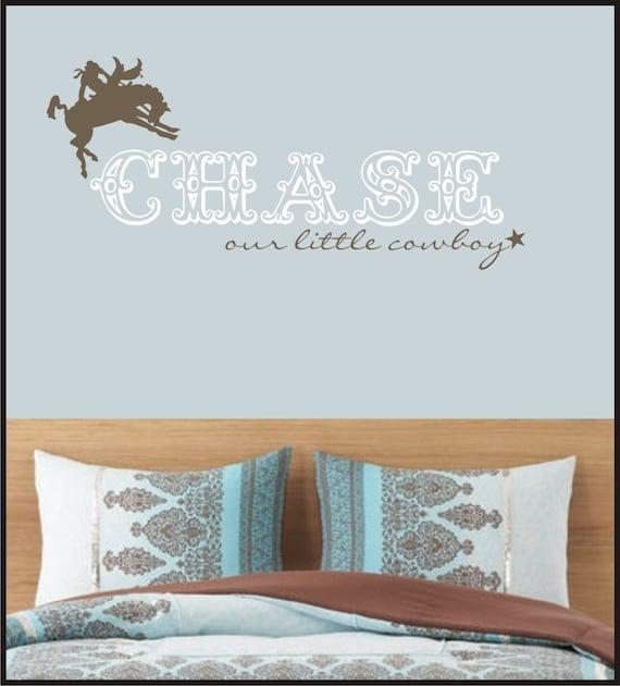 Cowboy Decal - vinyl wall art - Horse with name - star - vinyl