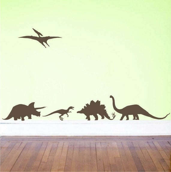 Dinosaurs Vinyl Decals - wall decal - boy room - Set of dino decals