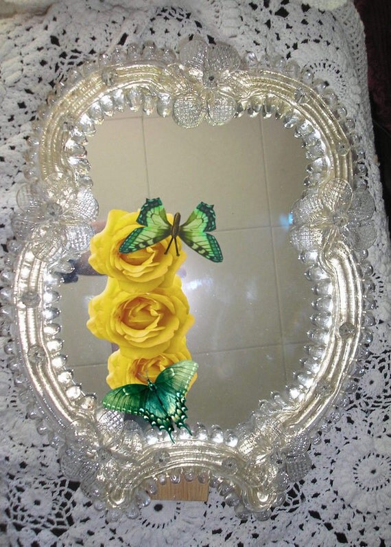 SALE Murano Mirror Vintage Large 5 Flower Piece Wonderful Christmas Gift