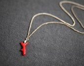 sterling silver chain with small red coral charm necklace