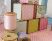 Vintage Retro Wooden Baby Blocks-SET OF 6