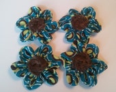 Blue and Green fabric flower embellishments