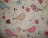 Pretty Birds Whimsical Flannel Fabric NEW