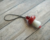 SALE Red and White Mushroom Cell Phone Charm