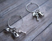 silver hand beaded stemware charms
