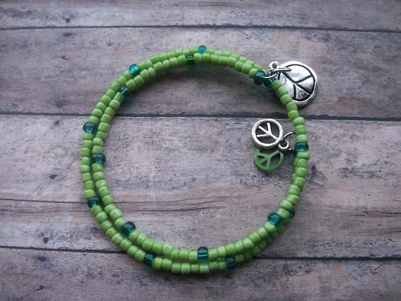 SALE 50% OFF green peace wrap bracelet