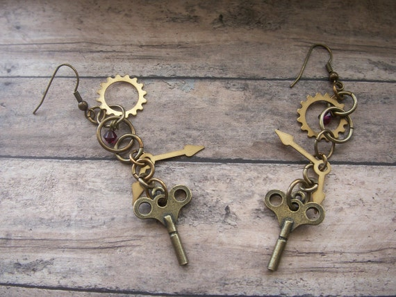 brass and burgundy steampunk dangle earrings