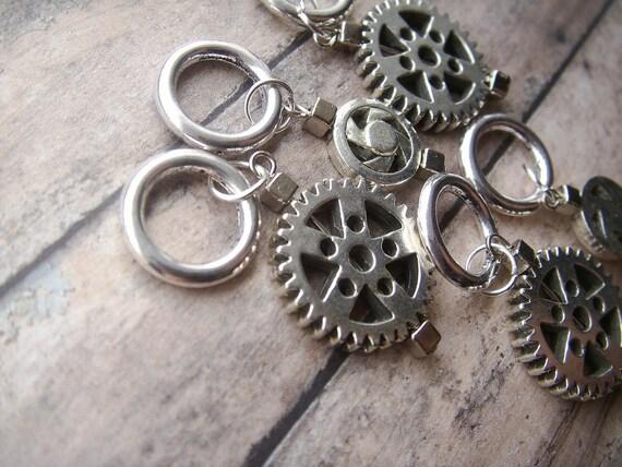 silver steampunk stitch markers