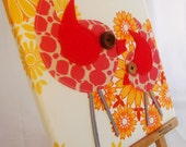 Oh so tweet Vintage Tangerine Birdy canvas...Free shipping Australia