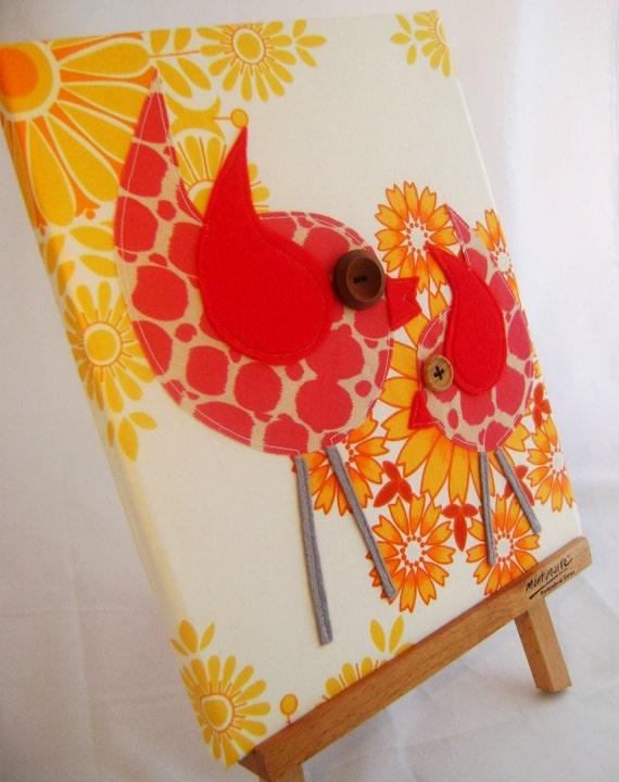 Oh so tweet Vintage Tangerine Birdy canvas...Free shipping Australia