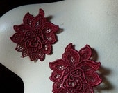 Lace Flower Applique in Red for Altered Couture, Costume or Jewelry Design, Home Decor CA 791red