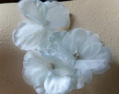 Silk Flower Appliques in Palest Aqua for Baby Headbands, Gift Wrapping,  Party Favors