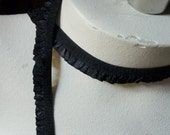 5 yds. Elastic with Ruffle in Black for Lingerie, Bridal, Garters EL 223
