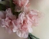 Pink Silk Flowers in Organza for Bridal, Hats, Headbands