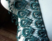 Emerald Green Venise Lace Peacock DesignTrim for Garments, Jewelry, Costumes, Millinery