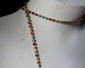 "18"" Rhinestone Chain SS12  in Multicolored Stones for Tribal Fusion, Jewelry or Costume Design"