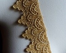Gold Lace Metallic Venise Lace for Bridal, Costume, or Jewelry Design GL 9