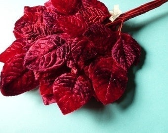 Velvet Millinery Leaves Vintage Japanese in Lipstick Red for Hats, Boutonierres, Corsages, Bouquets ML 59