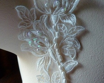 Pair of Organza Floral Lace Beaded Applique in Cream for Bridal, Headbands,  Altered Couture, Costume Design PR 120