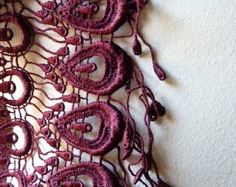 Burgundy Lace Peacock Trim for Lyrical Dance, Reenactment, Costume, Bridal, or Jewelry Design