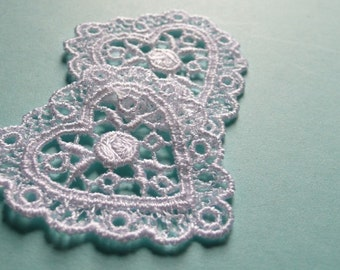 2 White OR Ivory Venice Lace Heart Appliques for Bridal, Garments,  Costume or Jewelry Design