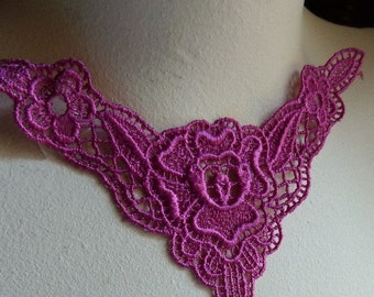 SALE Venise Lace  Applique in Fuchsia Pink for Jewelry or Costume Design CA 726