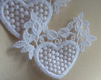 5 White Heart Appliques for Bridal, Headbands,  Costume or Jewelry Design  WA 645