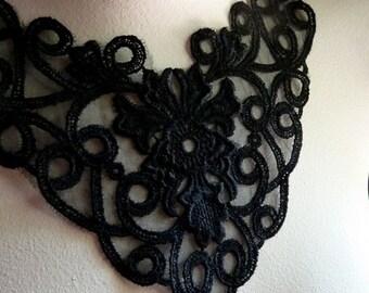 Lace Applique in Black for Jewelry or Costume Design BLA 294