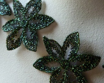 5 Green Lace Applique Flowers in Iridescent Green for Lyrical Dance, Headbands, Crafts CA 797