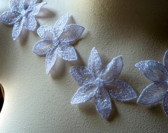 5 Lace Applique Flowers in Iridescent White Lavender for Lyrical Dance, Bridal, Headbands  CA 798