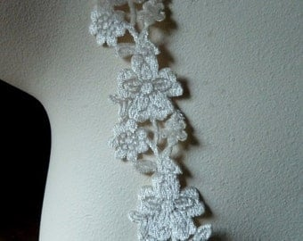 Lace Trim in Ivory Velvet for Bridal, Headbands, Costume or Jewelry Design