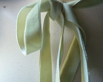 Velvet Ribbon in Celadon Green for Jewelry or Costume Design,Millinery, Couture, Floral Supply VL 153