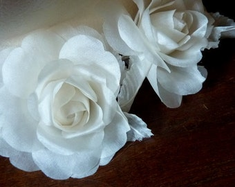 Ivory Silk Rose Petite for Bridal, Millinery, Floral Supply, Fascinators, Hats, Corsages MF105