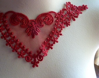 SALE  Red Applique Lace Heart  for Lyrical Dance, Garments, Costume Design  CA 724