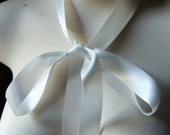 "REMNANT 4 yds Cream Satin Ribbon 7/8"" wide Double Face made in Japan for Bridal, Millinery, Floral or Costume Design"