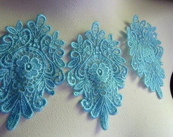 SALE 3  Medallion Motif Appliques in Aqua Embroidered Lace for Jewelry Supply, Headbands, Altered Couture,Costume Design
