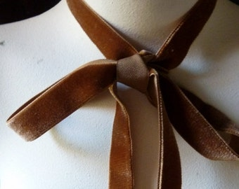 Velvet Ribbon in Cinnamon for Jewelry or Costume Design,Millinery, Couture, Floral Supply VL 154