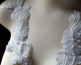 Silver Lace Applique Beaded Pair for Lyrical Dance, Ballroom Dance, Costumes, Bridal, Bridesmaids SashesPR 113s