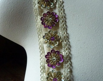 "18"" Beaded Trim  in Gold Metallic and Magenta for Headbands, Crafts"